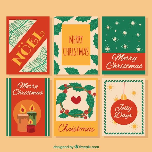 Retro christmas card pack
