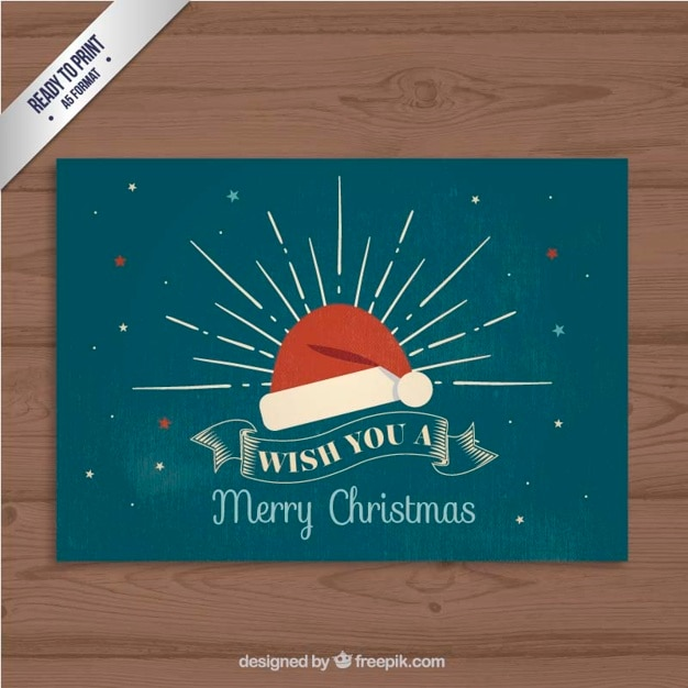 Retro Christmas Card Vector  Free Download