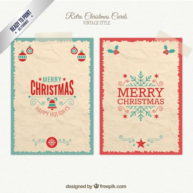 Retro christmas cards pack Vector  Free Download