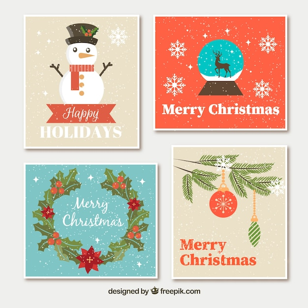 Retro Christmas Cards With Ornaments Free Vector