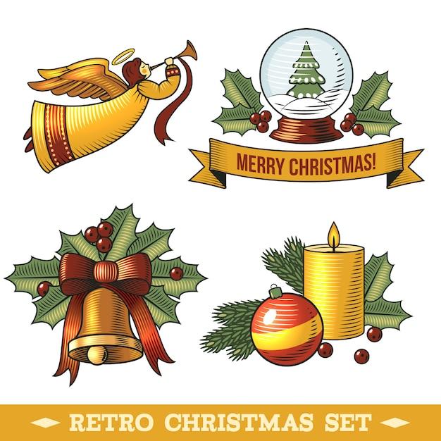Retro christmas decorative elements set Free Vector