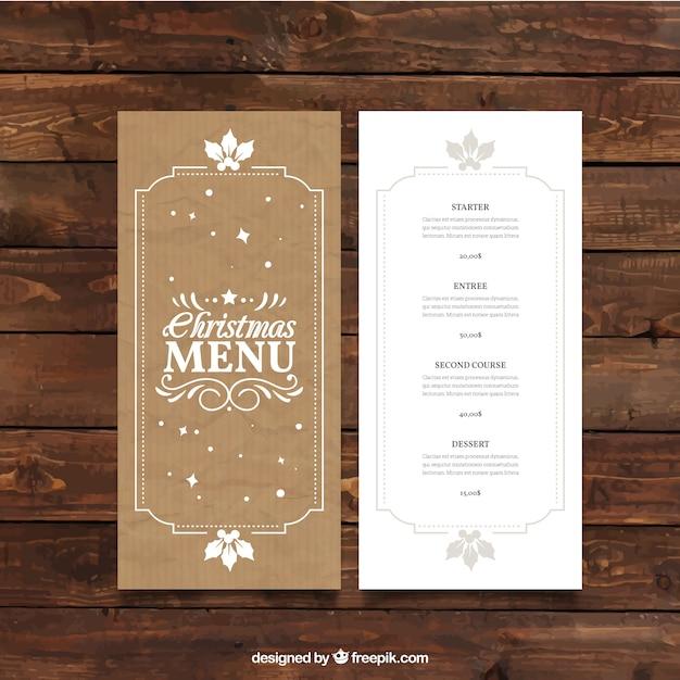Retro christmas menu template in cardboard style vector premium download - Christmas menu pinterest ...