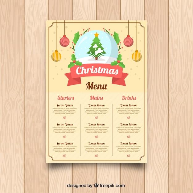 Retro christmas menu with christmas tree