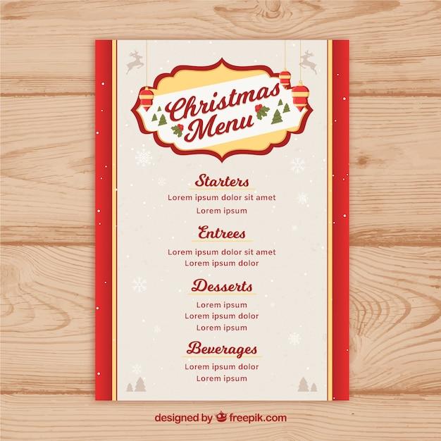 Retro christmas menu