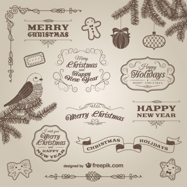Retro Christmas ornaments and labels Free Vector