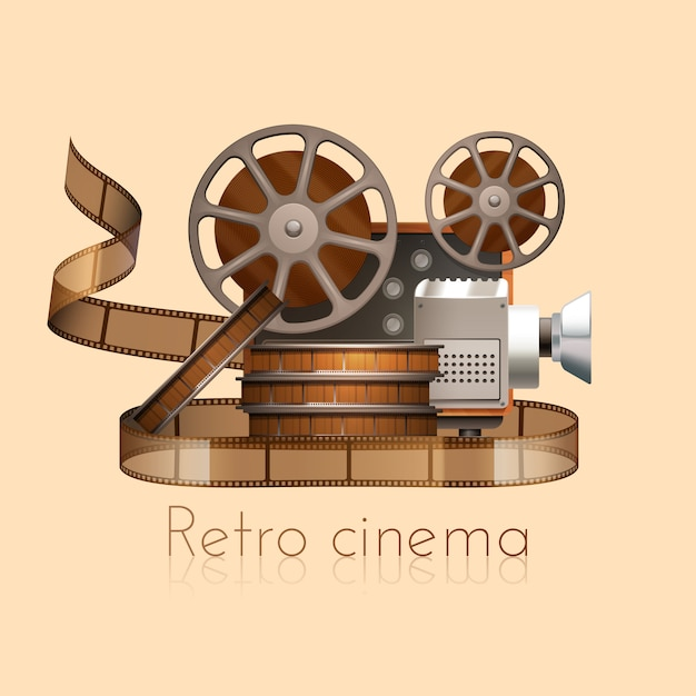 Retro cinema concept Free Vector