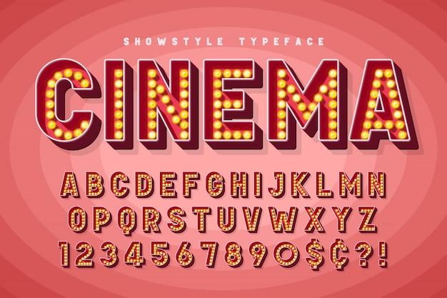 Retro cinema font design, cabaret, broadway letters Premium Vector