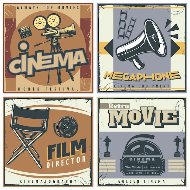 Набор плакатов ретро кино Бесплатные векторы