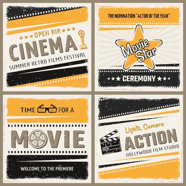 Retro cinema posters set Free Vector