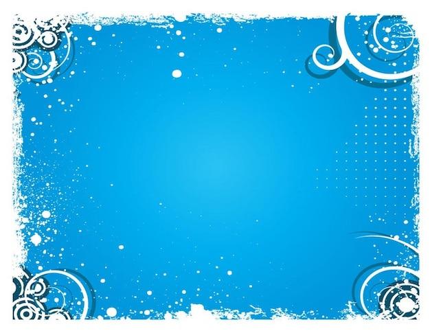 Retro circles and swirls on blue background