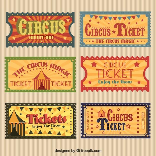 Retro circus tickets pack Premium Vector