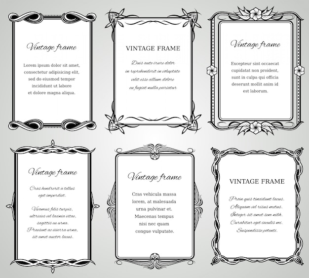 Retro classic borders and calligraphic old wedding photo frames collection. Premium Vector