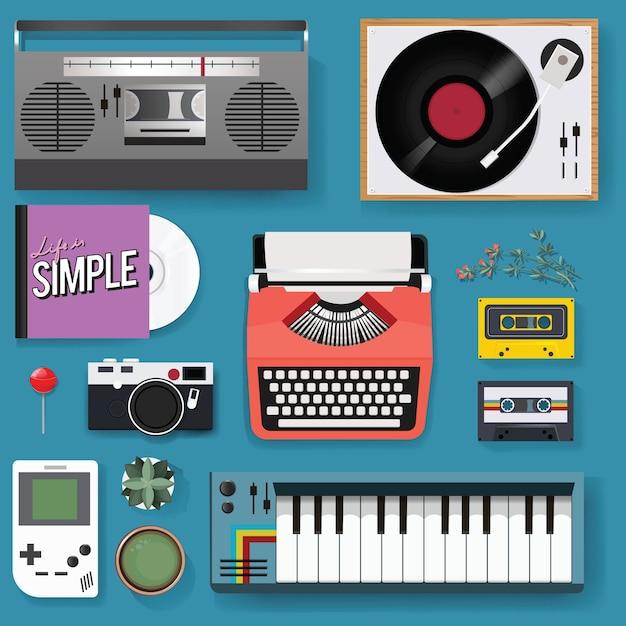 Retro classic entertainment media mixed set icon illustration Free Vector