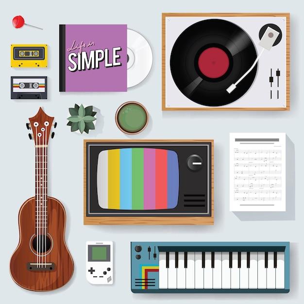 Retro classic music entertainment media mixed icon Free Vector