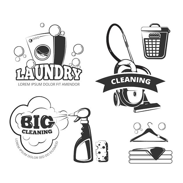 Ретро-этикетки для стирки и стирки, эмблемы, логотипы, значки. чистить и мыть, корзины и Premium векторы