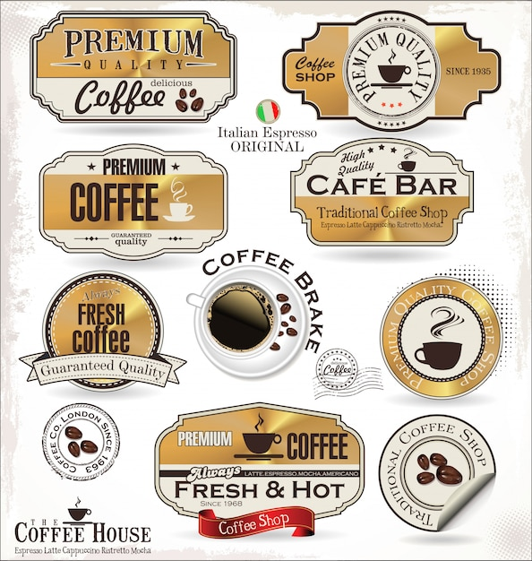 Retro coffee badges and labels Premium Vector