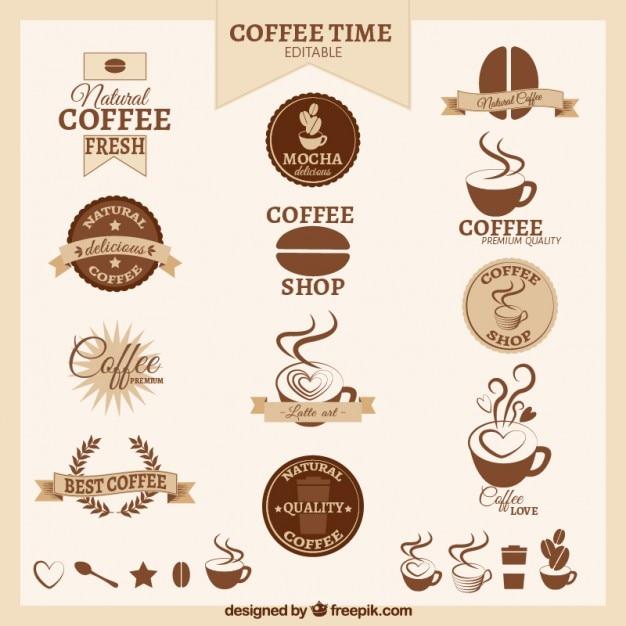 Retro coffee badges Free Vector