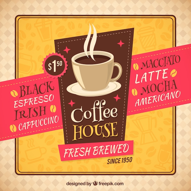 Retro coffee house flyer Free Vector