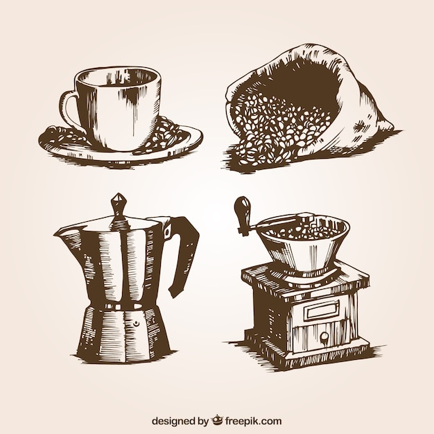 Retro coffee illustrations Free Vector