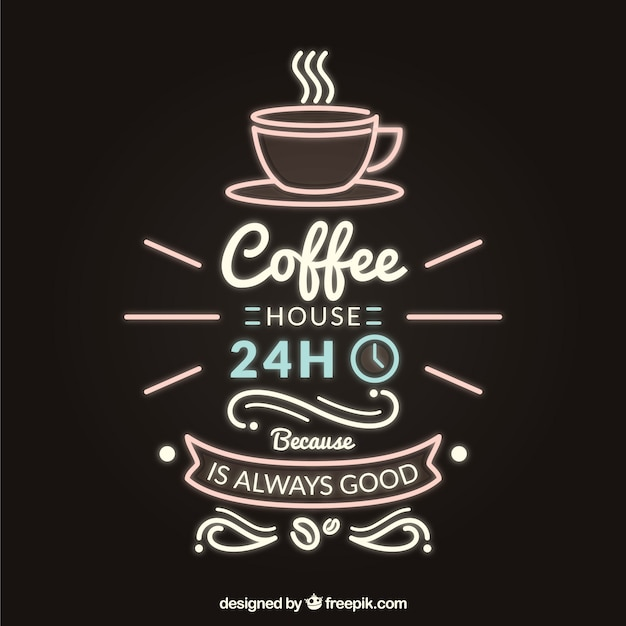 Retro coffee lettering in neon style