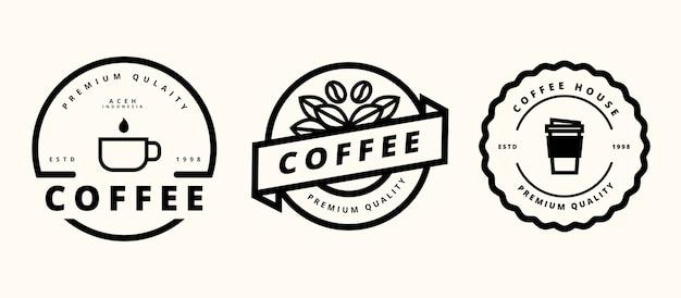 레트로 커피 로고 템플릿 디자인 프리미엄 벡터