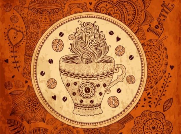 레트로 커피 패턴 배경 벡터 세트 무료 벡터
