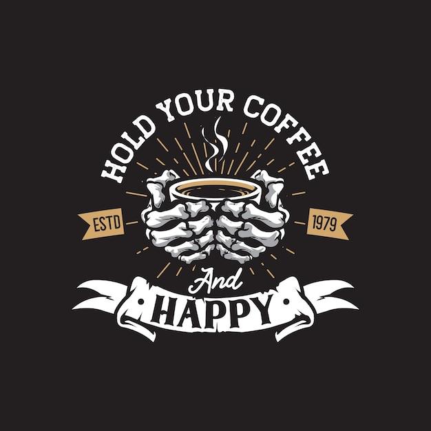 Ретро кофейня рука рисунок логотип Premium векторы