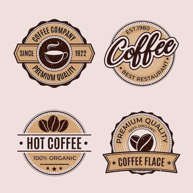Retro coffee shop logo collection Free Vector