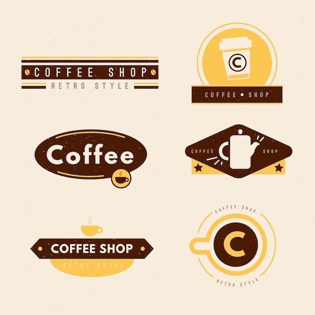 Retro coffee shop logo collection Premium Vector