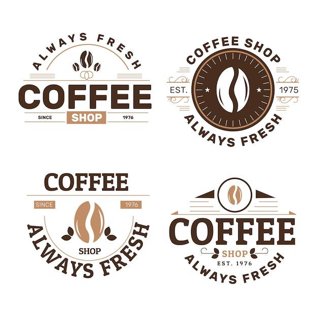 Retro coffee shop logo collection Free Vector