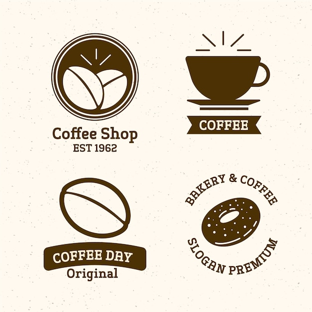 Retro coffee shop logo set Free Vector