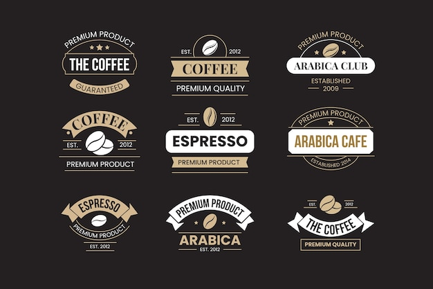 Retro coffee shop logo set Free Vector