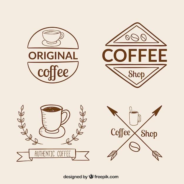 retro collection of coffee logos vector premium download