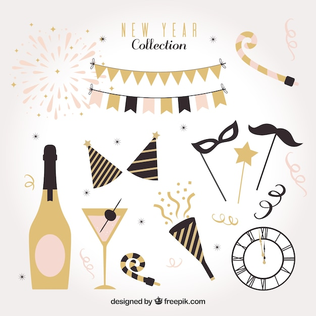 Retro collection of new year party element