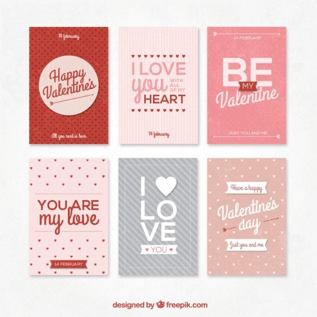 Retro collection of Valentines day cards Vector | Free Download