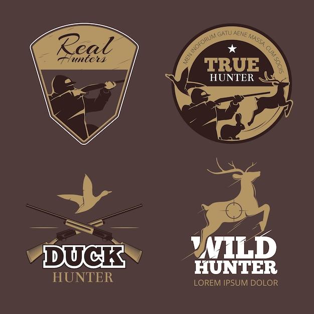 Retro color hunting labels set. hunter wild, vintage emblem, aiming and duck, vector illustration Free Vector