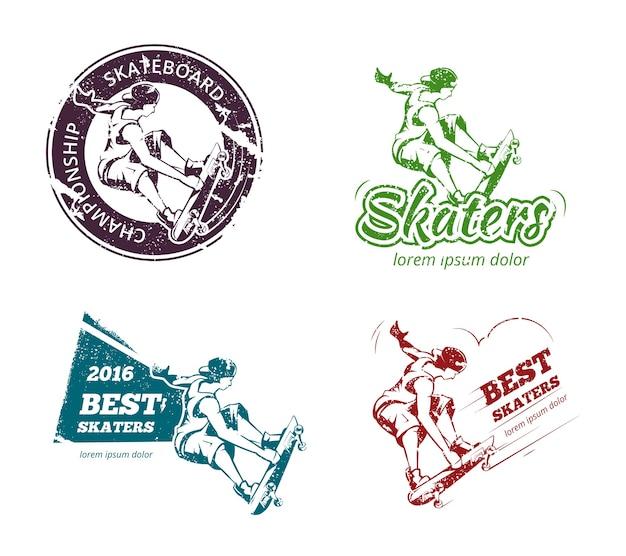 レトロなカラースケートボードのラベル、ロゴ、ステッカーセット。エンブレムバッジプリント、エクストリームアーバン。ベクトルイラスト 無料ベクター