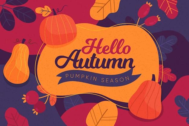 レトロな色の秋の背景 無料ベクター