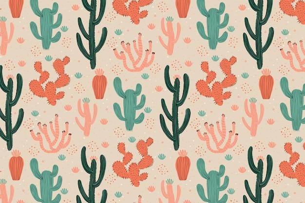 Ретро цветной рисунок кактуса Premium векторы