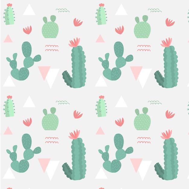 レトロな色の異なるサボテン植物パターン 無料ベクター