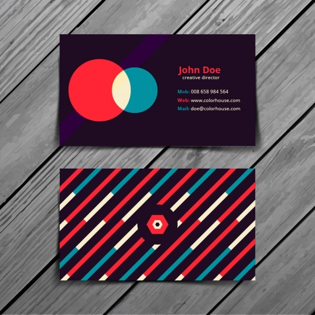 Retro colorful business card template vector free download for Retro business card template