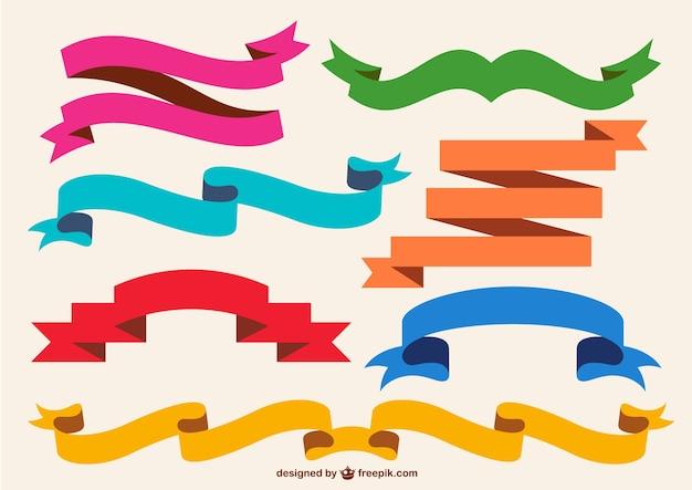 Retro colorful ribbons set Free Vector