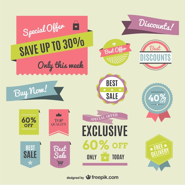 Retro colorful shopping labels Free Vector