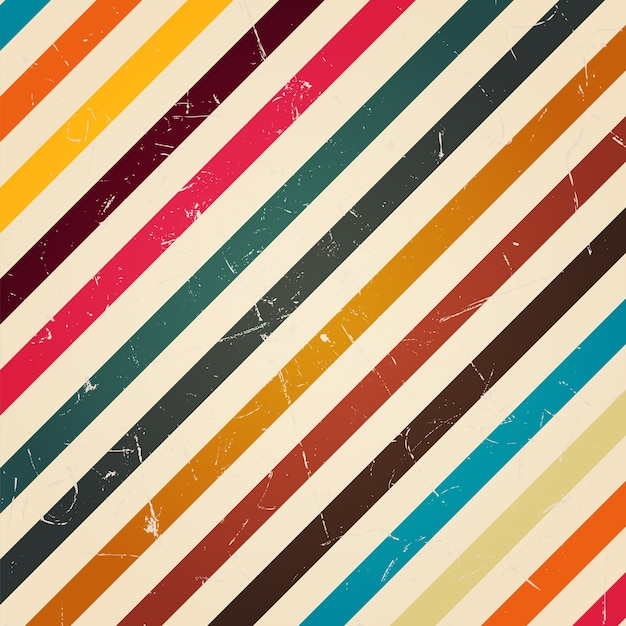 Retro colorful stripe with grunge filter Premium Vector