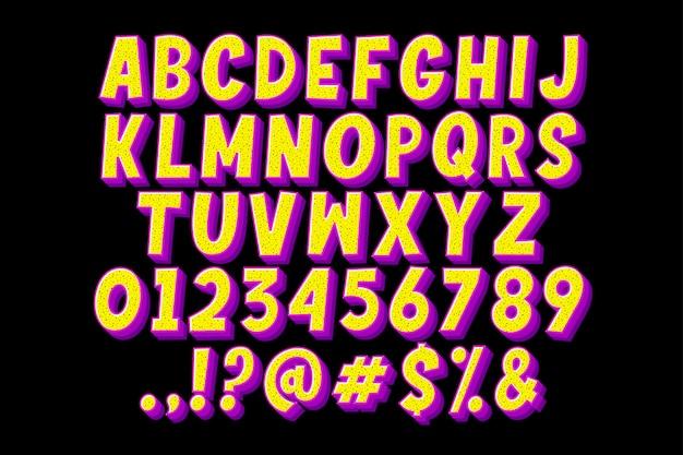 매력적인 색상으로 레트로 만화 알파벳 무료 벡터