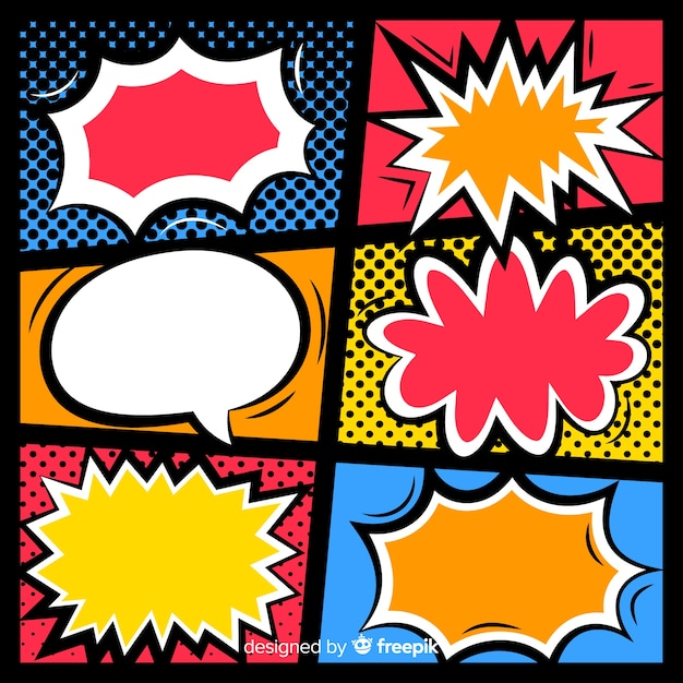 Retro comic empty speech bubbles set on colourful background Free Vector