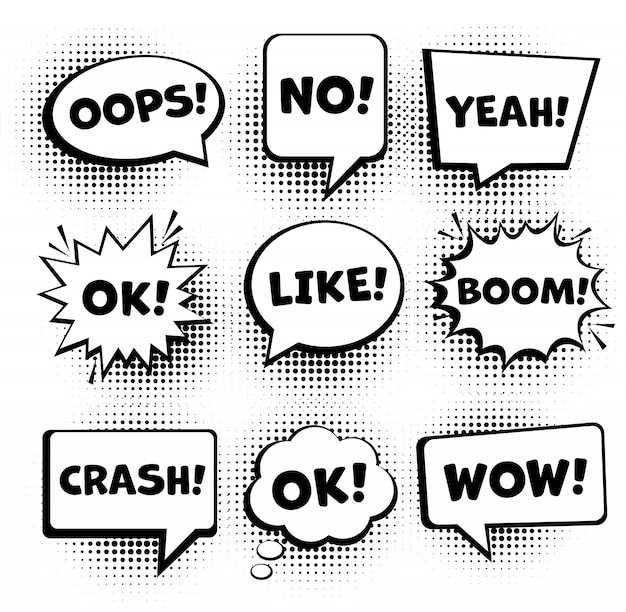 Retro comic speech bubbles set. empty comic speech bubbles set 9 in 1. vector Premium Vector