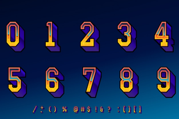 Retro computer game cool numbers Vector | Premium Download