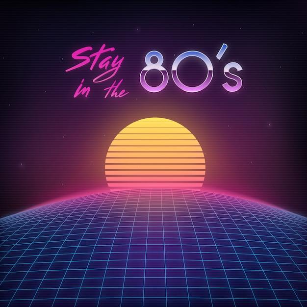 Retro cover 1980s. Premium Vector