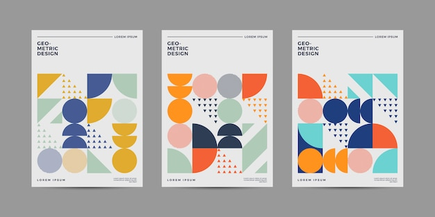 Retro cover design set Premium Vector